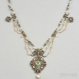 Antique Natural Pearl, Emerald, and Diamond Necklace