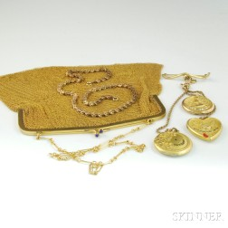Small Group of Art Nouveau Gilt and Gold-filled Jewelry