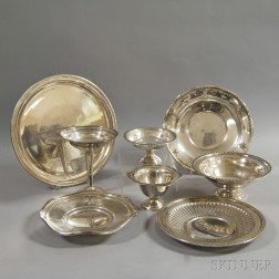 Eight Sterling Silver Dishes and Compotes