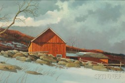 Eric Sloane (American, 1905-1985)      The Red Barn/Last Light of Day