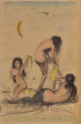 Pal Fried (Hungarian/American, 1893-1976)      Three Bathers Under a Crescent Moon