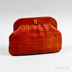 Fendi Woven Brown Leather Clutch