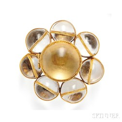 Antique Gold and Rock Crystal Brooch