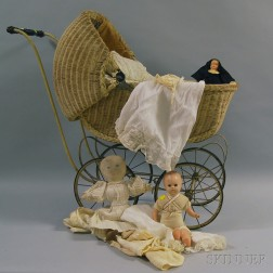 White-painted Wicker Doll's Carriage