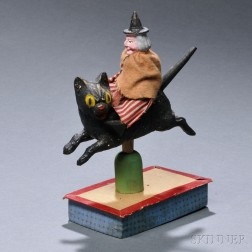 Painted Papier-mache and Wood Witch Riding a Black Cat Bobble Toy