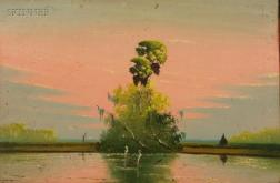 Johnny Daniels (American, 20th Century)      Herons at Sunset / A Florida Landscape