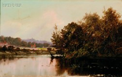 Worthington Whittredge (American, 1820-1910)      River View on a Clear Day