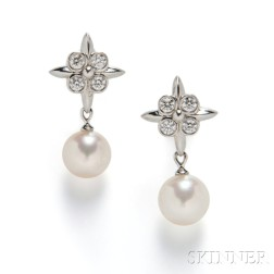 Platinum, Diamond, and Cultured Pearl Earrings, Tiffany & Co.