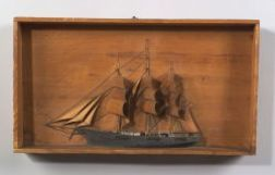 Painted Wooden Ship Diorama