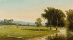 Clinton Loveridge (American, 1824-1902)    Valley Panorama with Pastures and Trout Stream.