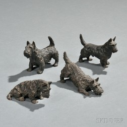 Marguerite Kirmse (American, 1885-1954)       Three Bronze Scottie Dogs: One Seated, One Crouching, One Standing