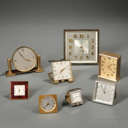 Eight Tiffany & Co. Table and Travel Clocks