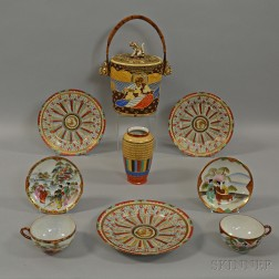 Satsuma Biscuit Jar and Eight Pieces of Polychrome Porcelain