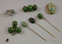 Three Egyptian Beetle Pins/Broochs, a Sterling Silver Pharaoh and Two Carved Scarab Head Stickpins, and a Loose...