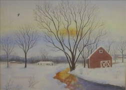 Framed Watercolor of a New England Winter Scene with Barn