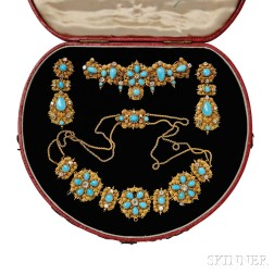 Gold, Diamond, and Turquoise Demi-parure