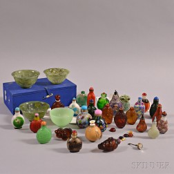 Twenty-seven Assorted Snuff Bottles and a Bowl