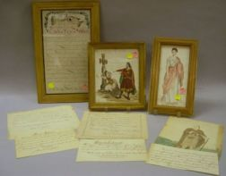 Group of 19th Century Calligraphy and Watercolor Exercises