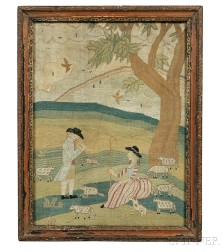 Needlework Picture Showing a Shepherd and Shepherdess with Their Flock