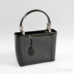 Christian Dior Black Patent Leather Tote Bag