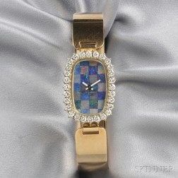 14kt Gold, Opal, and Diamond Bangle Wristwatch