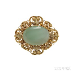 Gold and Chrysoprase Brooch