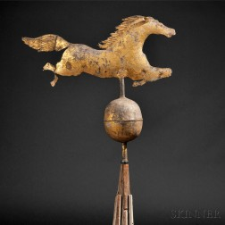 Gilt Molded and Sheet Copper Leaping Horse Weathervane on Stand