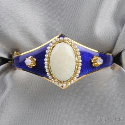 14kt Gold, Opal, and Enamel Bracelet