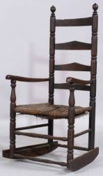 Dark Stained Ladder-back Rocking Armchair