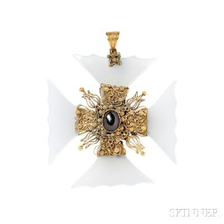 Gold, Chalcedony, and Garnet Carbuncle Maltese Cross Pendant