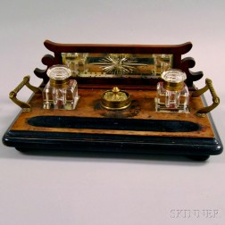 Brass and Carved Wood Inkstand