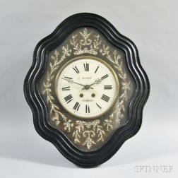 Aucagne Lacquered and Mother-of-pearl Inlaid Wall Clock
