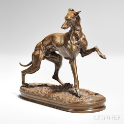 Pierre-Jules Mêne (French, 1810-1879)      Greyhound, with Left Front Leg Raised