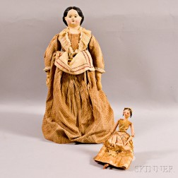 Papier-mache Head Doll and a Wooden Penny Doll