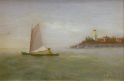 American School, 19th Century      Man in a Catboat Sailing Past a Point with a Lighthouse.