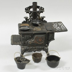 Miniature Crescent Cast Iron Toy Stove