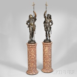 Pair of White Metal Figures of Cavalry Officers on Columns
