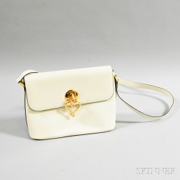 Two Moschino Cream Patent Leather Shoulder Bags