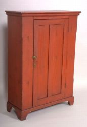 Salmon Red-painted Pine Cupboard