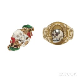 Two Gold Memento Mori Rings