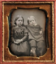 Two 19th Century American School Daguerreotypes:      Sixth-plate Daguerreotype of a Sister and Brother