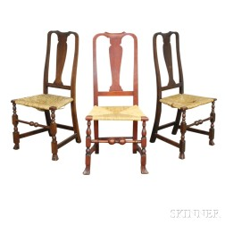 Three Queen Anne Stained Maple Side Chairs