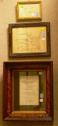 Three Framed 19th Century Calligraphy Items