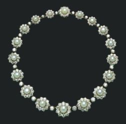Antique Natural Pearl and Diamond Necklace, Carrington & Co.