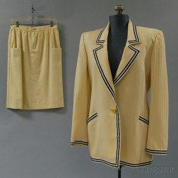Nautical Cream and Navy Silk Jacket with Starfish-decorated Gold-tone Buttons