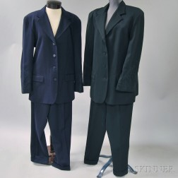 Two Calvin Klein Embroidered Black and Purple Wool Lady's Pantsuits