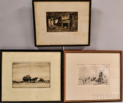 Three Framed Etchings: Jules Andre Smith (American, 1880-1959), Landscape with Cottage; After Johan Barthold Jongkind (Dutch, 1819-1891
