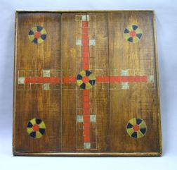 Large Painted Wooden Parcheesi Game Board.