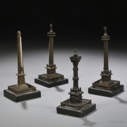 Four Grand Tour Bronze Models of Monuments