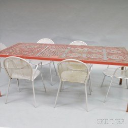 Red-painted Cast Iron Table and Six Metal Chairs